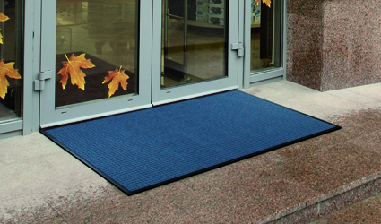 Water-Horse - blue Water-Horse mat in front of the entrance-door